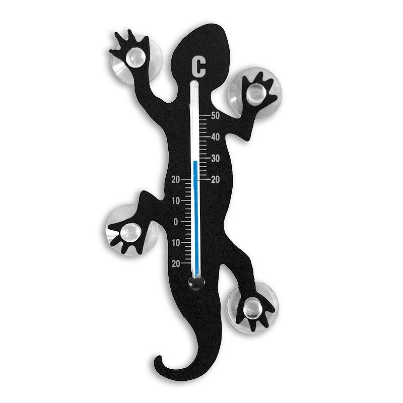 Thermometer Gecko/Lizard Salamander Gecko with sucker 13,7 x 6,3 cm, black