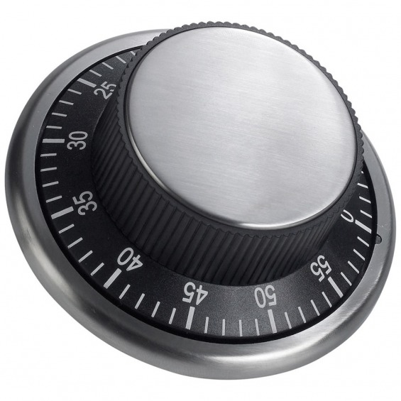Easy Read Black Stainless Steel Kitchen Timer Ø 10cm