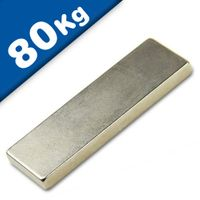 Block Magnet 60 x 20 x  5mm Neodymium N45 (Rare Earth), Nickel - pull 80 kg