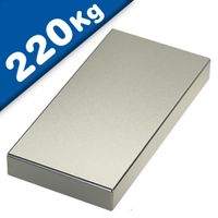 Quadermagnet Magnet-Quader  80 x  40 x 20mm Neodym N52, Nickel - hält 220 kg