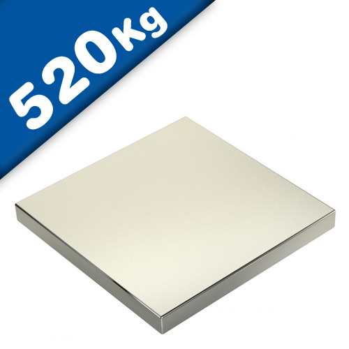 Block Magnet 100 x 100 x 20mm Neodymium N45 (Rare Earth), Nickel - pull 520 kg