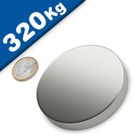 Round Disc Magnet Ø  80 x 20mm Neodymium N45 (Rare Earth), Nickel - pull 320 kg