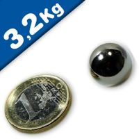 Magnetic Ball, Sphere Magnet - Ø 15mm, Neodymium N40, Nickel - force 3,2 kg