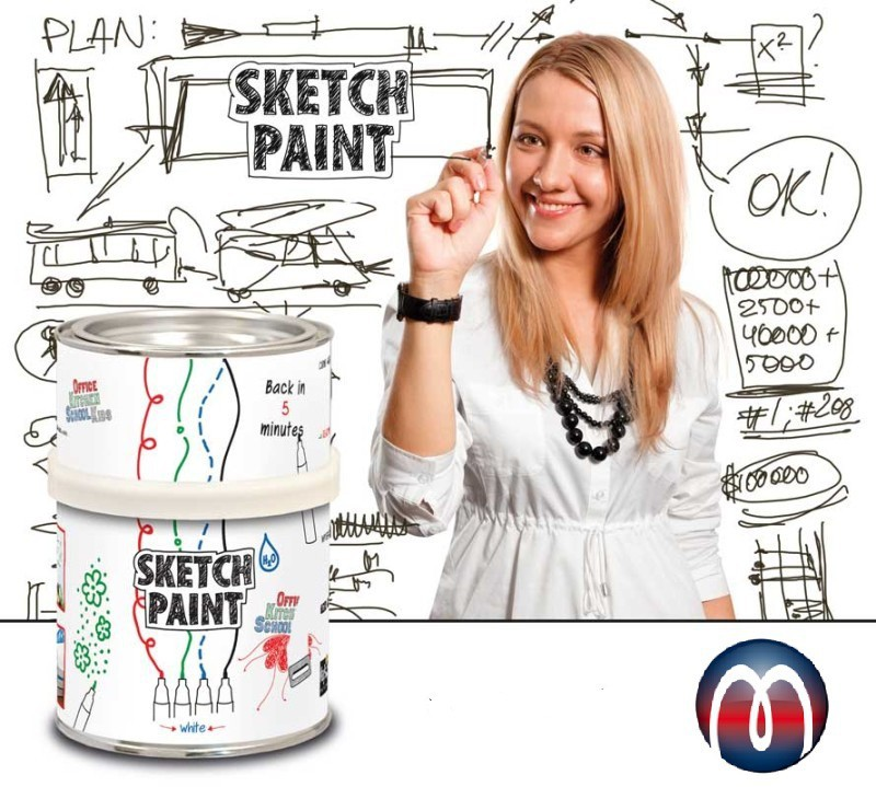 Dry Erase Whiteboard Paint - 1,0 litre - Transparent - Write-on Wall Paint