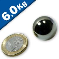 Magnetic Ball, Sphere Magnet - Ø 20mm, Neodymium N40, Chrome - Force 6 kg
