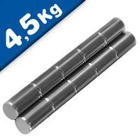 Stabmagnet Magnet-Stab Ø 10 x  20 mm Neodym N45 (NdFeB) Nickel - Haftkraft 4,5kg