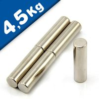 Magnetic Rod Round Cylinder Magnet Ø 10 x 40 mm Neodymium N40 Nickel, pull 4,5kg
