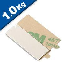 Quadermagnet selbstklebend 3M - 30 x 10 x 1 mm, Neodym N35, hält 1,0kg