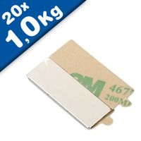 20 x Magnetic Blocks Self-adhesive 30 x 10 x 1 mm, Neodymium N35 - holds 1 kg