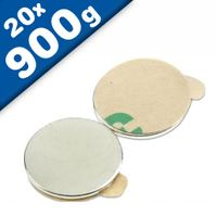 20 x Round Circle Disc Magnets self-adhesive Ø 15 x  1mm Neodymium - pull 0,9 kg