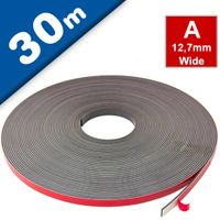 Self Adhesive Magnetic Tape Strip with foam adhesive, Typ A 1,5mm x 12,7mm x 30m