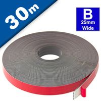 Self Adhesive Magnetic Tape Strip with foam adhesive, Typ B 1,5mm x 25,4mm x 30m