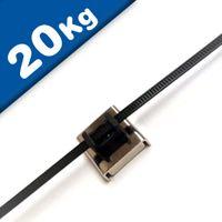 Bridas de Acero Inoxidable magnéticos Neodimio 26 x 23 x 6,3mm - 20 kg fuerza