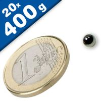 20 x Magnetic Balls, Sphere Magnet - Ø  5mm, Neodymium N40 Nickel, Force 400g