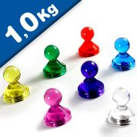 Clear magnetic push pin assorted colors Ø 21 x 26mm fridge magnet - holds 1,0 kg