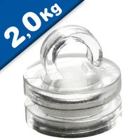 Aimant Néodyme transparent Ø 16 mm x 17 mm œillet, 2kg de traction
