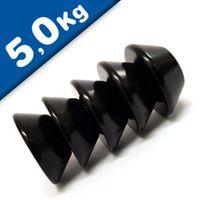 Konusmagnet Ø 15,0 / 8,0 x 6 mm – Neodym N42, Epoxid - Haftkraft 5 kg