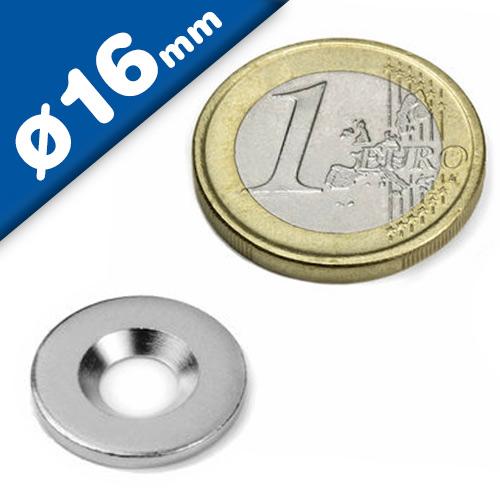 Metallscheiben mit Senkbohrung, aus DC01 Ø 16mm x 2mm verzinkt