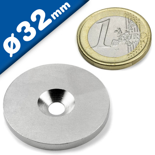 Steel discs with countersunk borehole - counterpart to magnets Ø 32mm x 3mm
