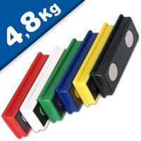 Office magnet 55x22,5x8,5 mm Neodymium 6 assorted colors, holds 4,8 kg