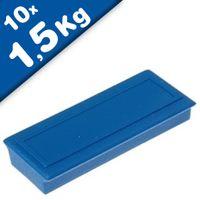 Magnete ufficio 53 x 23 x 9mm, Ferrite, con zona etichetta, 10 colori
