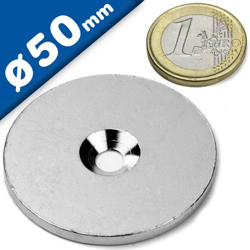 Metallscheiben aus DC01 Ø 50mm x 5mm mit Bohrung verzinkt Gegenstück für Magnete