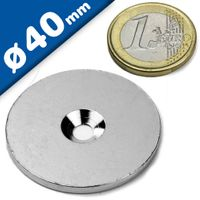 Steel discs with countersunk borehole - counterpart to magnets Ø 40mm x 3mm