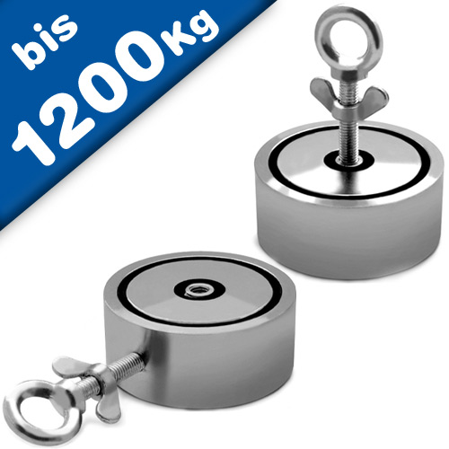 Super Strong Neodymium Fishing Magnets - 2 x 600kg Pulling Force