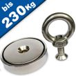Neodymium Fishing Magnet with Threaded Eyelet Ø 32-90mm - Force up to 230kg  001