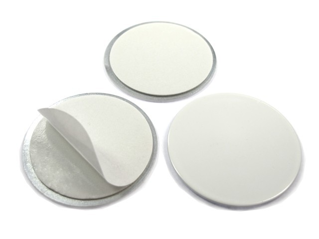 Metal disk white, double-sided adhesive tape Ø 20 x 2mm - counterpart to magnets