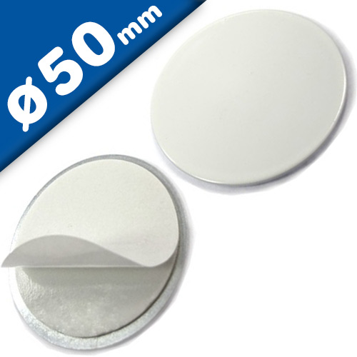 Metal disk white, double-sided adhesive tape Ø 50 x 2,5mm - counterpart to magnets