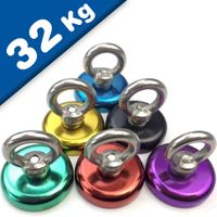 Eyebolt Magnets coloured, Pot Magnet with Eyelet Ø 32 mm - force 32 kg