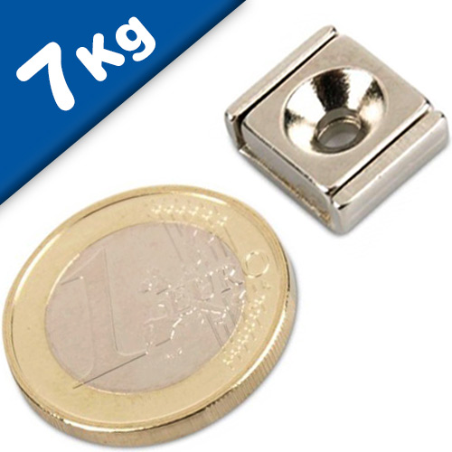 Channel magnet Neodymium 15 x 13,5 x 5mm with countersunk borehole - holds 7 kg