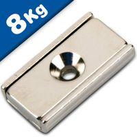 Magnete piatto a barra 20 x 13,5 x 5 mm con foro svasato - forza 8 kg