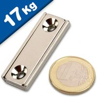 Channel magnet Neodymium 40 x 13,5 x 5mm with countersunk borehole - holds 17 kg