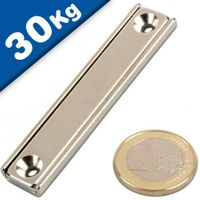 Channel magnet Neodymium 60 x 13,5 x 5mm with countersunk borehole - holds 30 kg