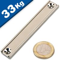 Channel magnet Neodymium 80 x 13,5 x 5mm with countersunk borehole - holds 33 kg