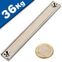 Magnete piatto a barra 100 x 13,5 x 5 mm con foro svasato - forza 36 kg