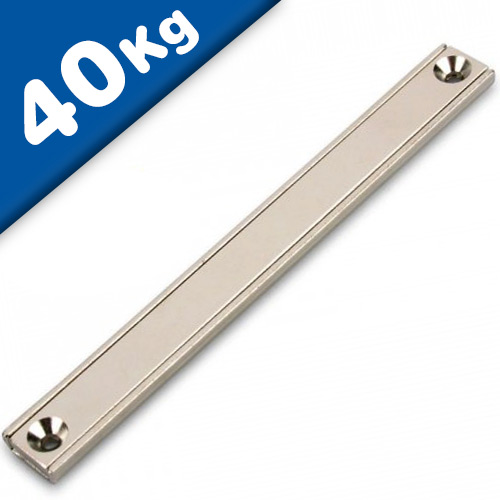 Channel magnet Neodymium 120 x 13,5 x 5mm with countersunk borehole - holds 40kg
