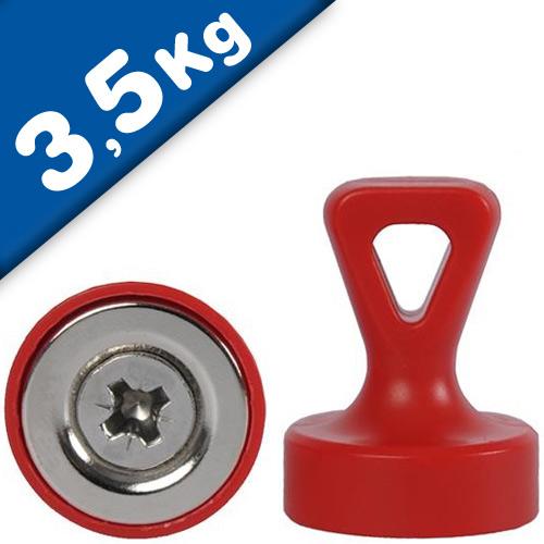 Grip magnets w/ Loop Ø 17 x 22 mm Neodymium N35 - RED - force: 1.6 kg-3.5 kg