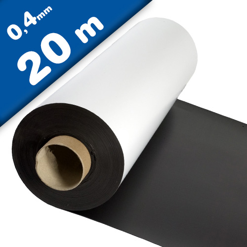 Magnetfolie weiß matt beschichtet 0,4mm x 100cm x 20m – Rolle / Meterware