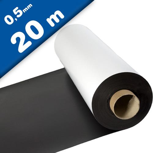 Feuille magnétique Caoutchouc aimanté BLANC MAT 0,5mm x 1m x 20m - Rouleau