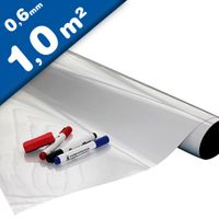 Dry wipe gloss ferrous sheet with foam adhesive back, white 0,6mm x 1m x 1m