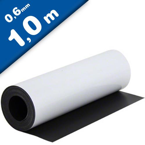 Feuille magnétique Caoutchouc aimanté BLANC MAT 0,6mm x 0,62m x 1m - au mètre