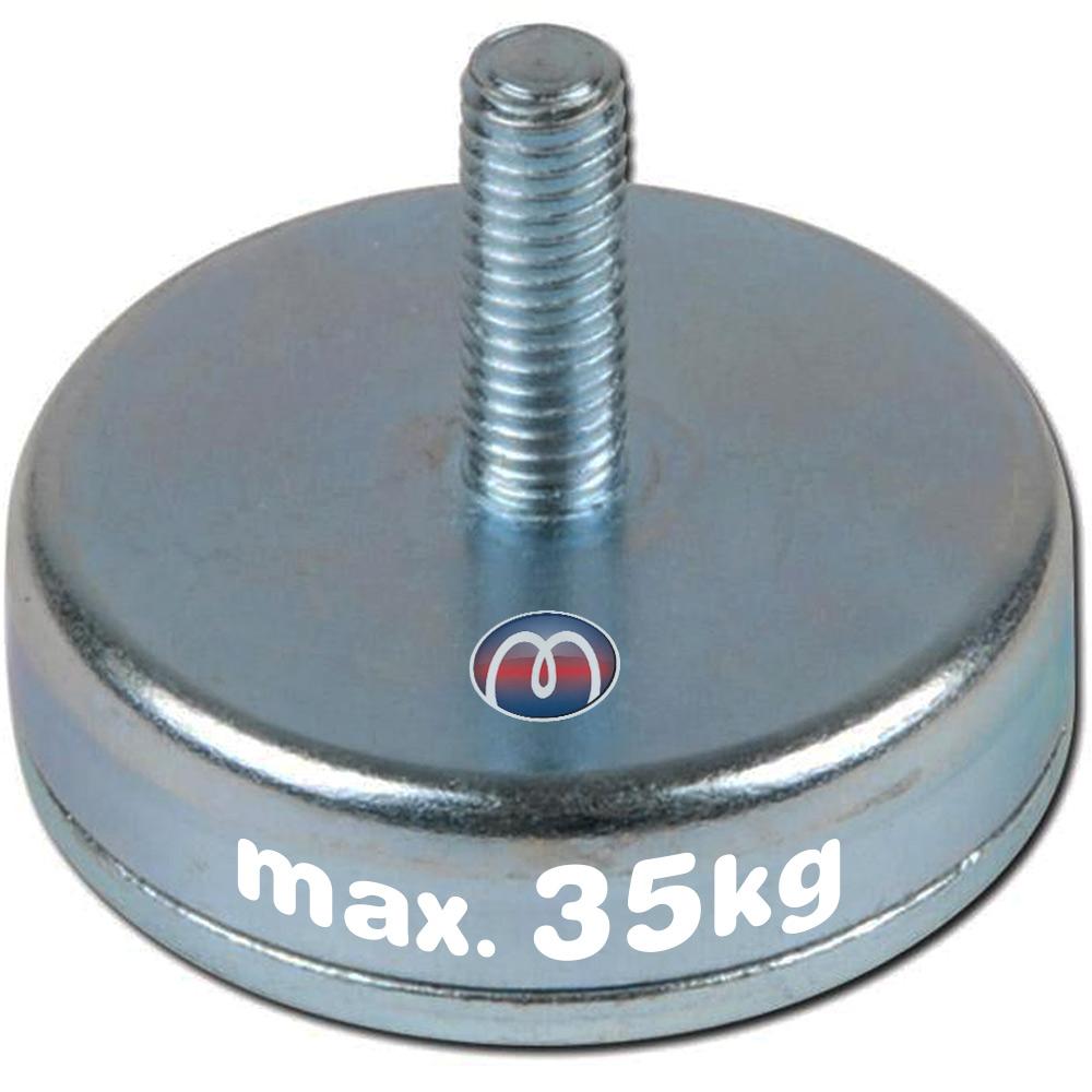 Flachgreifer aus Hartferrit mit Gewindezapfen Magnetsystem, Topfmagnete