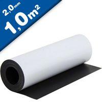 Feuille magnétique Caoutchouc aimanté BLANC MAT 2mm x 1m x 1m - vendu au mètre