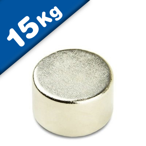 Round Disc Magnet Ø  25 x 10mm Neodymium N40 (Rare Earth), Nickel - pull 15kg