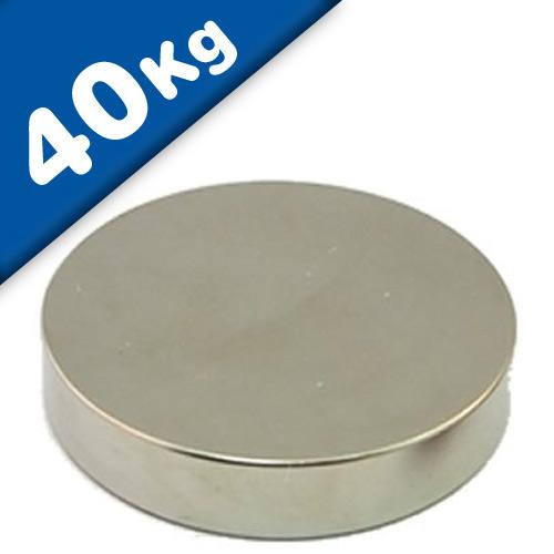 Aimant rond Disque magnétique Ø 50 x 10mm Néodyme N40, Nickelé - force 40 kg