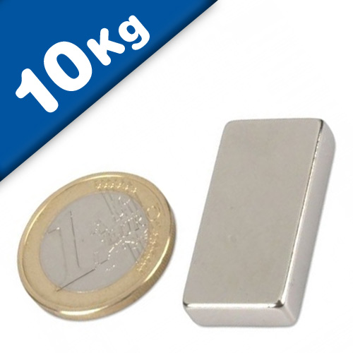 Aimant Bloc 30 x 15 x  6mm Néodyme N42SH, Nickelé - force 10 kg