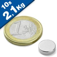 Disc Magnet Ø 10 x  3mm Neodymium N45, Nickel - pull 2,1 kg – 10 pieces